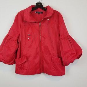 AK Anne Klein Red Puff sleeve anorak jacket